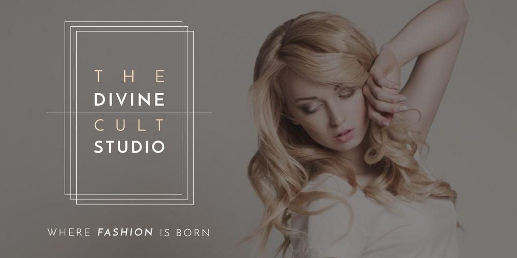 Fashion Studio Ad Blonde Woman in Casual Clothes Image – шаблон для дизайну