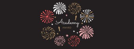 Plantilla de diseño de Oscar Event Announcement with Fireworks Facebook cover