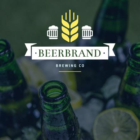 Brewing company Ad with Beer Bottles Instagramデザインテンプレート