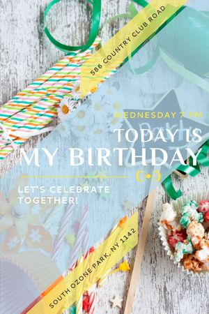 Birthday Party Invitation Bows and Ribbons Tumblr – шаблон для дизайну