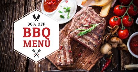 Template di design Barbecue Menu Offer with Grilled Meat Facebook AD