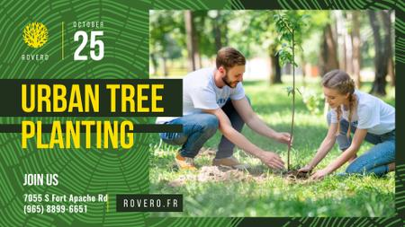 Ontwerpsjabloon van FB event cover van Volunteer Event Team Planting Trees