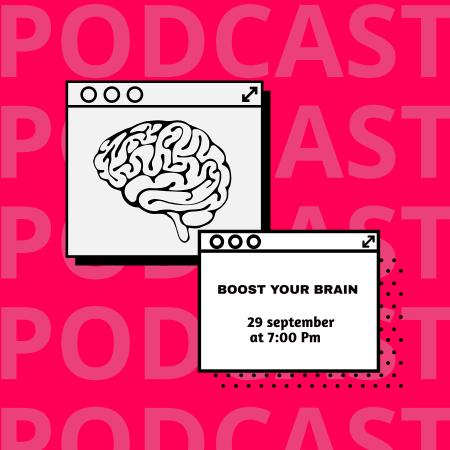 Ontwerpsjabloon van Podcast Cover van Educational Podcast Announcement with Brain Illustration