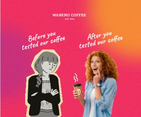 Platilla de diseño Funny Coffeeshop Promotion with Woman holding Cup Large Rectangle
