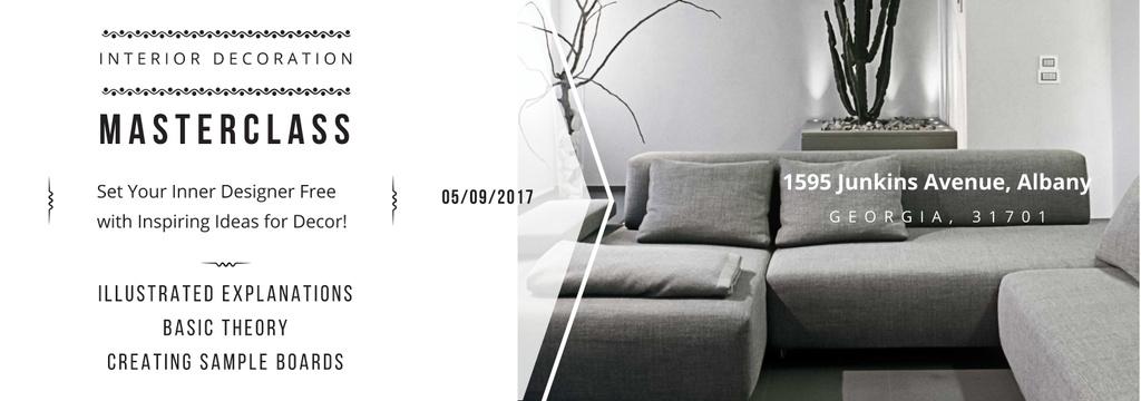 Interior Decoration Event Announcement Sofa in Grey — Créer un visuel