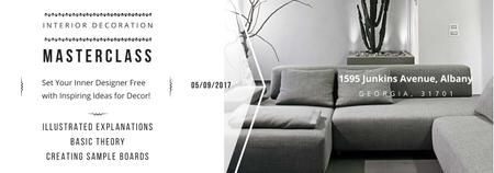 Template di design Interior Decoration Event Announcement Sofa in Grey Tumblr