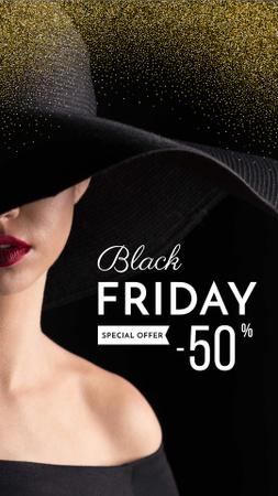 Black Friday Discount Offer with Elegant Woman Instagram Story Modelo de Design