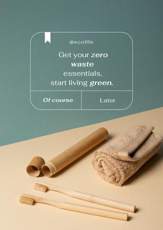 Modèle de visuel Zero Waste Concept with Wooden Toothbrushes - Poster
