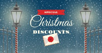 Christmas Discounts Offer with Lanterns
