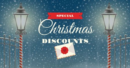 Ontwerpsjabloon van Facebook AD van Christmas Discounts Offer with Lanterns