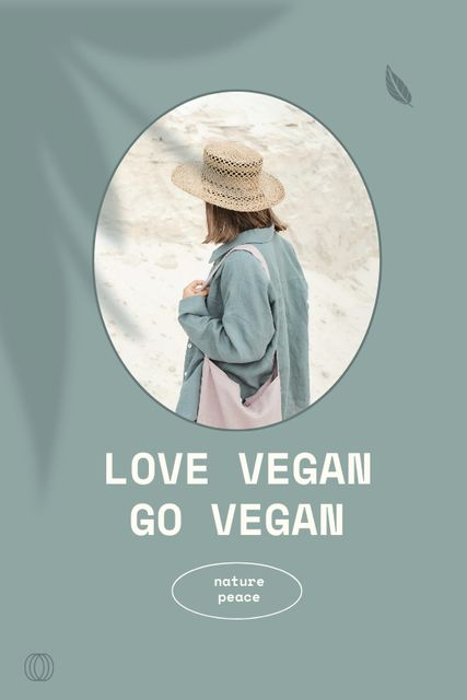Vegan Lifestyle Concept with Girl in Summer Hat Tumblr Design Template