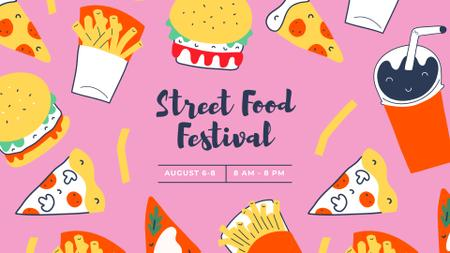 Ontwerpsjabloon van FB event cover van Street Food festival announcement