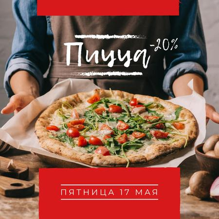 Pizza Party Day with Chef holding Pizza Instagram – шаблон для дизайна