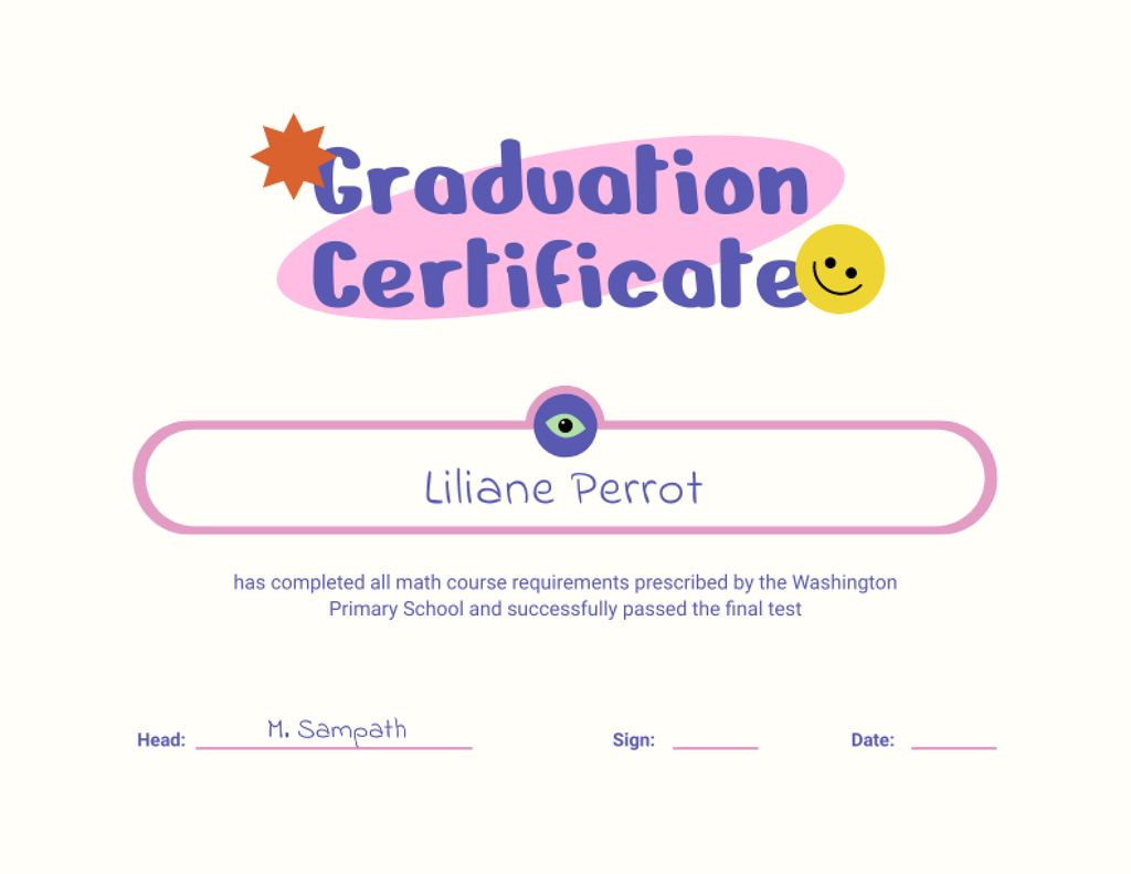 Primary School Math Course Graduation Award Certificate – шаблон для дизайну