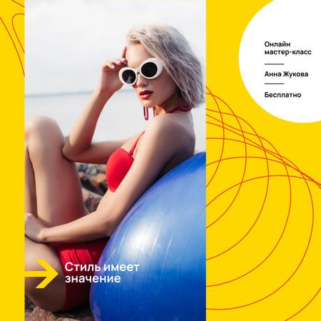 Style Masterclass announcement with Woman in Bikini Instagram – шаблон для дизайна