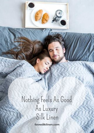 Bed Linen ad with Couple sleeping in bed Flayer Tasarım Şablonu