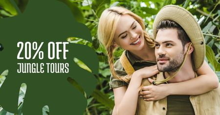 Plantilla de diseño de Travel Tour Offer couple in Jungle Facebook AD
