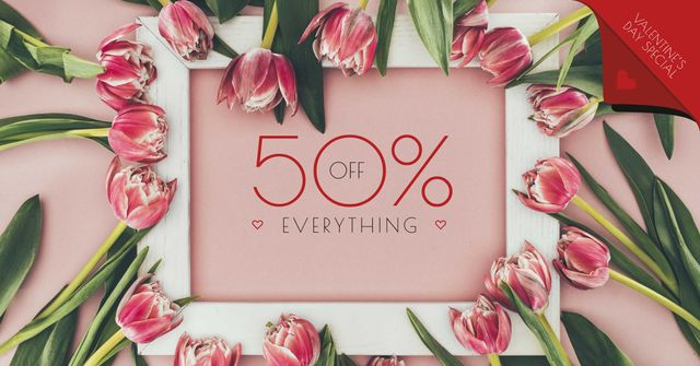 Discount Offer in Tulips Frame Facebook AD Design Template