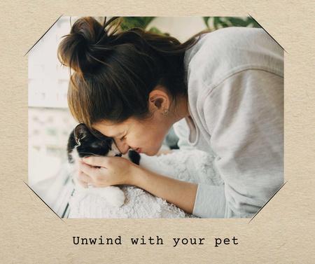 Plantilla de diseño de Mental Health Inspiration with Woman and Cute Cat Facebook