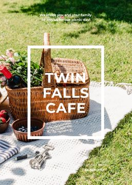 Cafe invitation with Picnic Basket on a Lawn