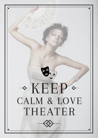 Theater Quote Woman Performing in White Flayer Modelo de Design