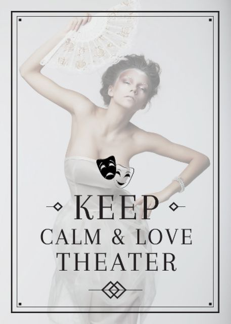 Template di design Theater Quote Woman Performing in White Flayer