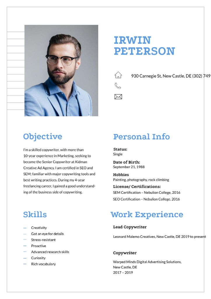 Professional copywriter skills and experience Resume – шаблон для дизайну