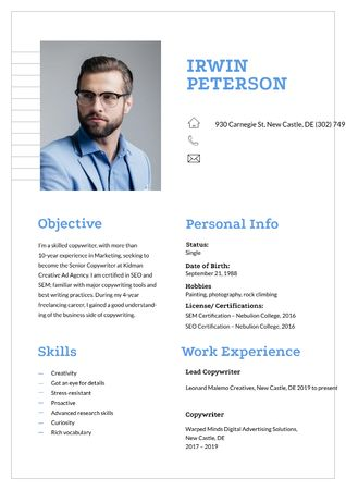 Professional copywriter skills and experience Resume – шаблон для дизайну