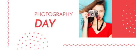 Photography Day with Woman holding Camera Facebook coverデザインテンプレート