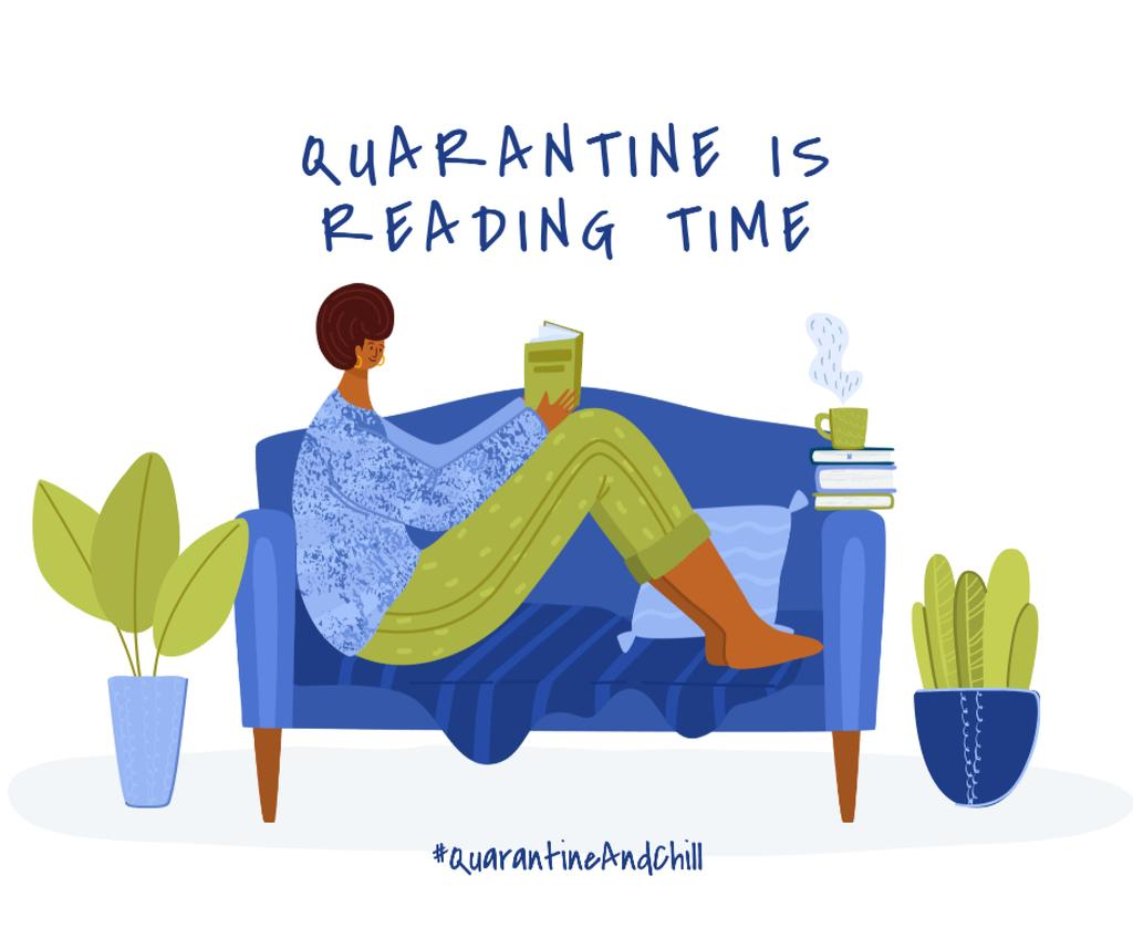 Ontwerpsjabloon van Facebook van #QuarantineAndChill Woman reading Books in cosiness armosphere