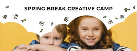 Ontwerpsjabloon van Facebook cover van Creative Camp Ad with Cute Kids