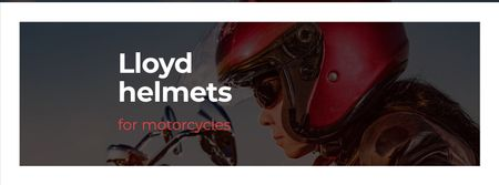 Plantilla de diseño de Bikers Helmets Offer with Woman on Motorcycle Facebook cover