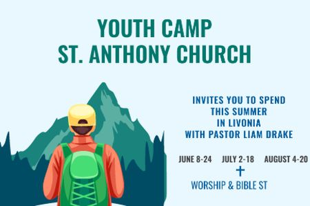Youth religion camp of St. Anthony Church Gift Certificate – шаблон для дизайна