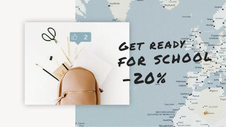 Plantilla de diseño de Back to School Sale Stationery in Backpack over Map Full HD video