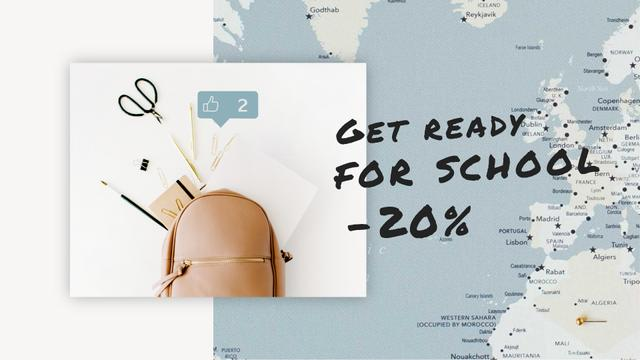Szablon projektu Back to School Sale Stationery in Backpack over Map Full HD video