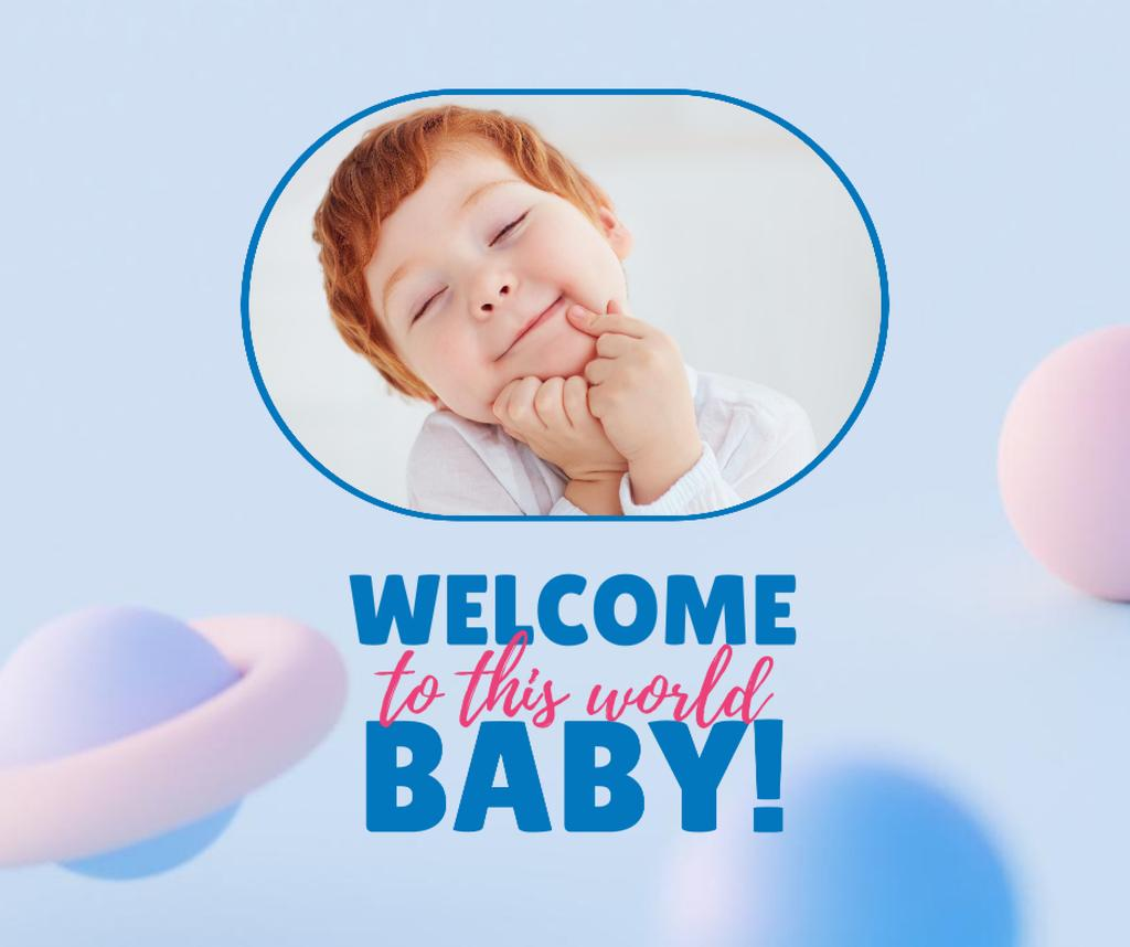 Birthday Greeting with Cute Little Child Facebook Modelo de Design