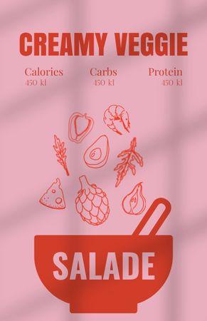 Platilla de diseño Creamy Veggie Salad Cooking Recipe Card