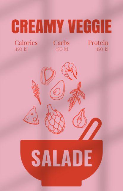 Creamy Veggie Salad Cooking Recipe Card Modelo de Design