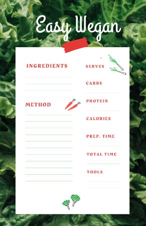 Vegan Cooking Ad with Fresh Salad Leaves Recipe Card Modelo de Design