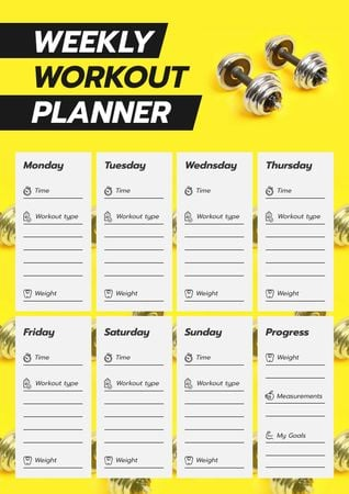 Modèle de visuel Workout Plan for Week with dumbbells - Schedule Planner