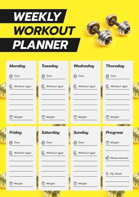 Workout Plan for Week with dumbbells Schedule Plannerデザインテンプレート