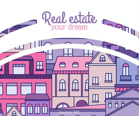 Real Estate Ad with Town in pink Facebookデザインテンプレート