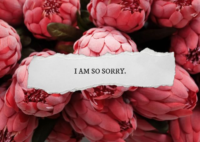 Cute Apology with Pink Peonies Card – шаблон для дизайна