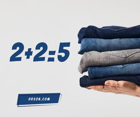Fashion Sale Blue Jeans Pile Facebook – шаблон для дизайна