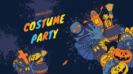 Ontwerpsjabloon van FB event cover van Halloween Costume Party Announcement