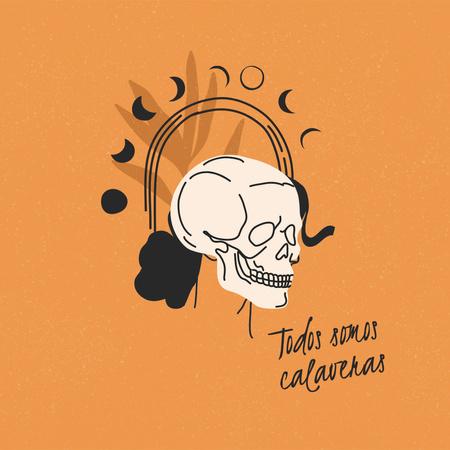 Dia de los Muertos Holiday with Esoteric Illustration Animated Post – шаблон для дизайна