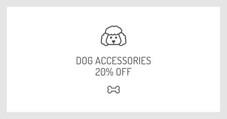Designvorlage Dog Accessories Discount Offer with Puppy icon für Facebook AD