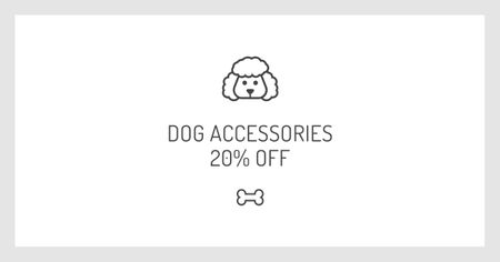 Dog Accessories Discount Offer with Puppy icon Facebook AD Modelo de Design