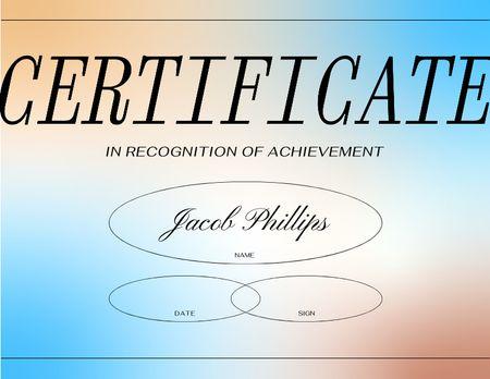 Achievement Award on colorful gradient Certificate Πρότυπο σχεδίασης