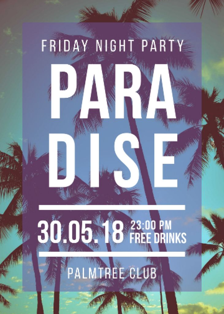 Night Party invitation on Tropical Palm Trees Flayer Design Template
